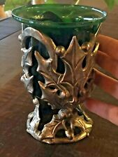 HOLLY BERRY Metal Carved CANDLE HOLDER PEDESTAL With Green Glass