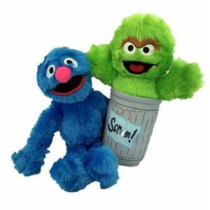 "Set of 2 Plush Toys Sesame Street Oscar the Grouch & Grover. Large 14""-15"". New"