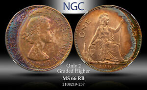 1967 GREAT BRITAIN PENNY NGC MS 66 RB ONLY 2 GRADED HIGHER #C