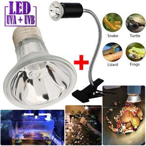 Heizlicht+Lampenhalter Aquarium Terrarium Wärmelampe Reptilien Strahler UVA UVB