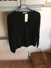 M&S Ladies V Neck Sweater With Cashmere Black Sz 16 BNWT