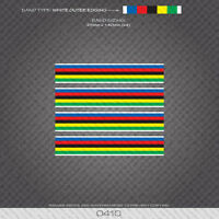 0410 World Champion Stripes Bands - Bicycle Decals Stickers - White Edges