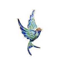 Vivid flying Swallow Vintage Cloisonne Enamel Silver S925 Pendant DIY Unique 86