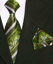 Krawatte Krawatten Set mit Einstecktuch Schlips Binder de Luxe 138 Grün