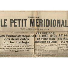 Le PETIT MÉRIDIONAL 15-7-1941 Paul LABIT de  LOUPIAN-VIAS-Quadrette de PUIMISSON