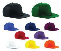 Beechfield SNAPBACK CAP FLAT PEAK HAT HIP HOP BASEBALL RETRO MEN UNISEX NEW RAP