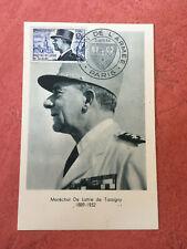 Carte FDC France 1er jours De Lattre de Tassigny N° 982 à Paris de 1954