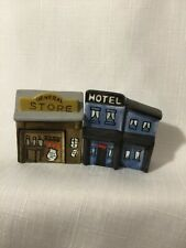 "1975 1976 Enesco Vintage General Store & Hotel Mini Ceramic Village 2"" Stamped"