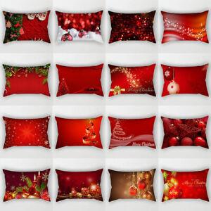 30×50cm Red Christmas Cushion Covers Throw Waist Pillowcase Home Sofa Decor