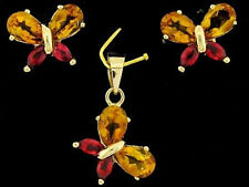 9ct Gold Natural Citrine & Red Sapphire Butterfly Earrings Pendant Matching Set