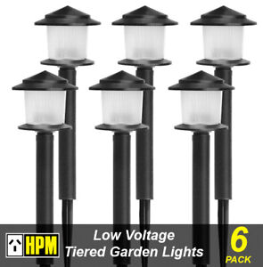 6 x HPM Mackay 2 Tier Garden Path Lights 12V 5W Low Voltage DIY Black RGLVPBL