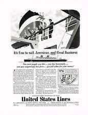 1936 BIG Vintage United States Cruise Lines Rolf Klep Ship Art Print Ad