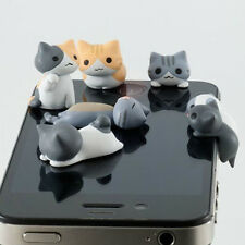 6× Cute Cheese Cat 3.5mm Anti Dust Earphone Jack Plug Stopper For iphone Phone