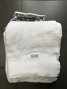 The White Company Blanket Throw. White. Knitted. 100% Cotton. With bag. Ex Con.