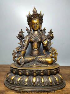 "12"" Old Tibet Bronze Gilt 7 eyes White Tara Spirit of Compassion Goddess Statue"