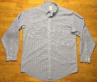 Brooks Brothers Men's Blue & Yellow Plaid Long Sleeve Dress Shirt - Size: 16 4/5