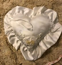 Wedding Ring Bearer heart Pillow Adorned made with Swarovski Crystals and Pearls