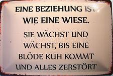 Beziehung ist eine Wiese Blechschild Schild gewölbt Metal Tin Sign 20 x 30 cm