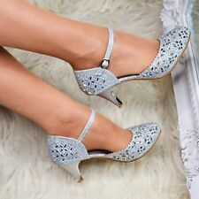 Silver Embellished Ankle strap Mid Heel Party Shoes Mary Jane Sparkly Prom Size