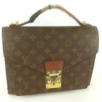 Auth LOUIS VUITTON MONCEAU 28 Hand Bag Monogram M51185 Brown
