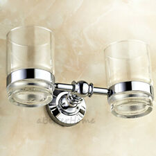 Chrome Finish Double Glass Embedded Toothbrush Tumbler & Holder Kit Wall Mounted