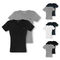 2er, 4er Pack EMPORIO ARMANI T-Shirts kurzarm V-Neck Stretch Cotton Farbwahl