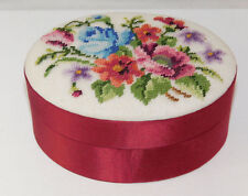 Vintage Hand Made Petit Point Floral Bouquet Red Satin Oval Trinket Box