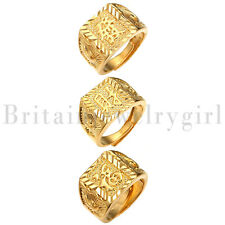 18K Gold Plated Kanji Ring Rich/Luck/Wealth Adjustable Size 3pcs Set for Men