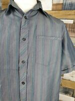 Taylor & Wright Mens Grey Blue Striped Short Sleeve Shirt Size L 46 Soft Touch