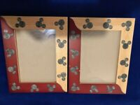 """2 Wood Frames Mickey Mouse Disney Parks Fits Photo 4.5"""" x 6.5"""" RARE Please READ"""