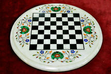 "18"" Marble Chess Table Top Inlay Malachite Lapis Handicraft Work Home Decor"
