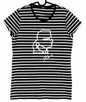 KARL LAGERFELD Tee-shirt rayé coton noir blanc profil argent signat XS 34