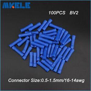 100PCS Premium Solderless Brass 16-14AWG Gauge Butt Connectors Terminals BV2
