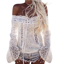 New US Women Long Sleeve Blouse Shirt Ladies Lace Floral Sexy Off Shoulder Tops