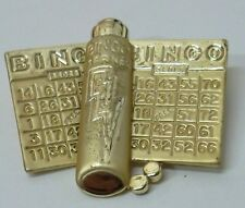 Bingo Cards & Marker Gambling Vintage Brooch Pin in Gold Plated SIGNED AJC, NEW