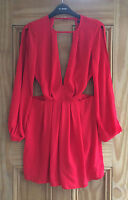 Miss Selfridge New Red Plunge Cut Out Long Sleeves Playsuit Size 4 - 10 Bnwot