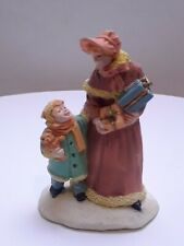 Lady with Girl Holding Bear Christmas Holiday Village accessories