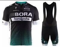 NEW Short Sleeve Men's BORA HANSGROHE BLACK CYCLING JERSEY with Short Bib Set