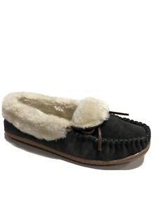 Minnetonka Women's Tiffany Folded Trapper, Slipper Shoes-Gray, Size 10M.