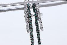 Nuova 18k Oro Bianco .70ct Blu/Verde & Diamante Omega Retro Orecchini a Barretta
