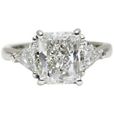 1.50 CTW Cushion & Trillion Cut Diamond Engagement Ring Platinum GIA Certified