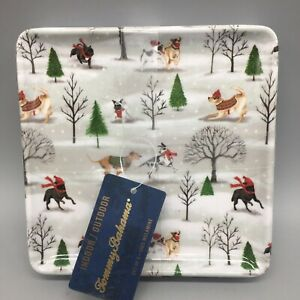 x6 Tommy Bahama Christmas Dogs in Snow Appetizer Snack Plates Dish Melamine Set