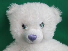 BUILD A BEAR WHITE PURPLE SHIMMER FUR SPARKLE HANNAH MONTANA TEDDY BEAR PLUSH