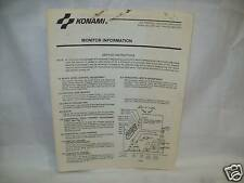 Konami Monitor Information Manual Original