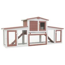 """Outdoor Large Rabbit Hutch Brown and White 80.3""""x17.7""""x33.5"""" Wood"""