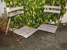 A GOOD PAIR OF * VINTAGE * FOLDING * IRON FRAMED WOODEN GARDEN CHAIRS