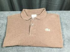 LACOSTE 🐊 Mens Brown Polo Golf Shirt Long Sleeve Euro Size 7