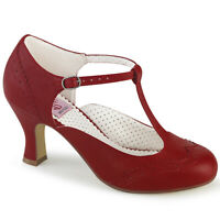 Pin Up Couture FLAPPER-26 Women's Red Leather Kitten Heel Round Toe T-Strap Pump