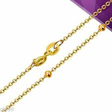 Fashion Au750 Pure 18K Yellow Gold Chain Women 1mm O Link Bead Necklace 23.6inch