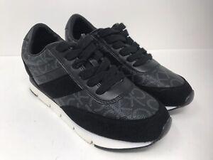 CALVIN KLEIN Tea CK Logo Designer Sneakers Tennis Shoes Casual Size 6.5 Black